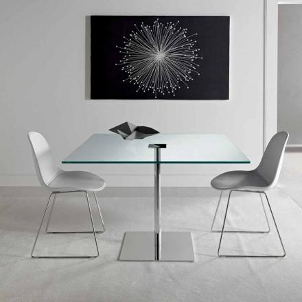 Masă pătrată de masă din sticlă și metal extralight fabricată în Italia - Dolce
