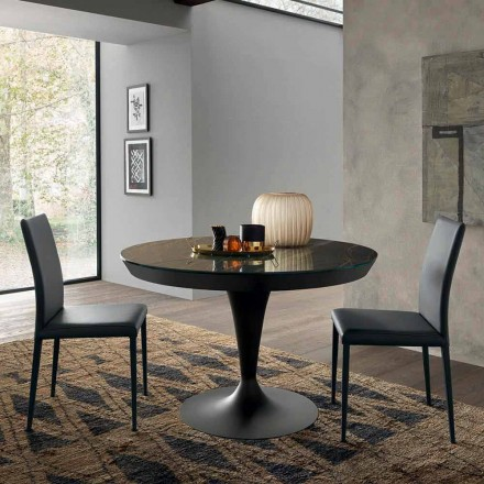 Masă rotundă extensibilă din ceramică Laminam Made in Italy - Lupetto