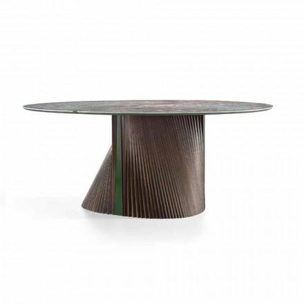Masă rotundă de lux din gresie lustruită și lemn fabricat în Italia - Madame