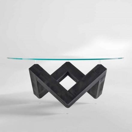 masă rotundă din lemn cu sticla de top Bao