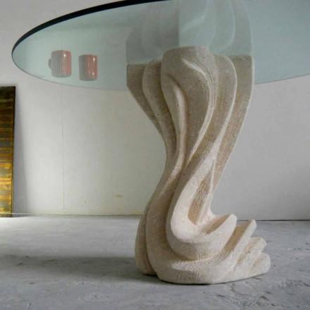 masă rotundă în piatră, cu partea de sus de sticlă Cadmus
