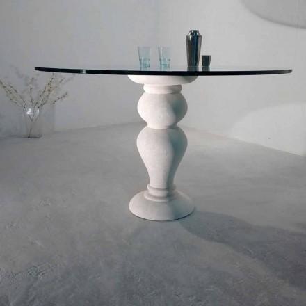 masă rotundă din piatră și cristal Oedip, design clasic