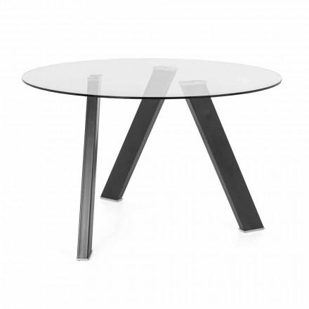 Diametru Masă rotundă Diametru 120 cm în proiectare sticlă și metal - Tonto