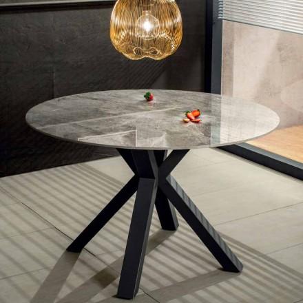 Masă rotundă modernă din efect de marmură ceramică și metal - Jarvis