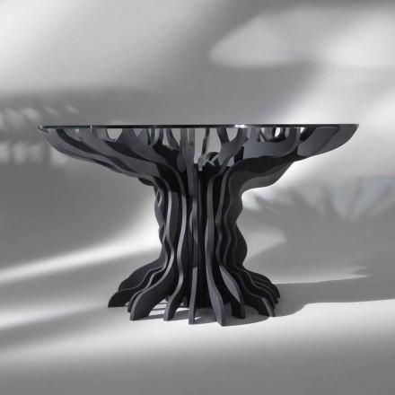 masă rotundă Cassia, pian lemn negru si sticla de top