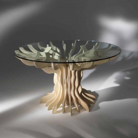 mese de masă rotundă din lemn cu sticla călită top Dalia