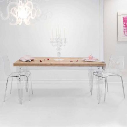 Design de masă din lemn de brad și plexiglas fabricat în Italia, Castro