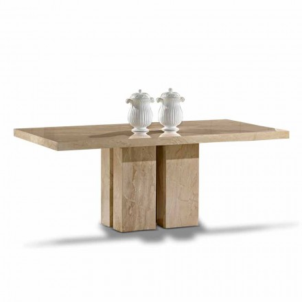 Masă de lux cu design modern, Top în marmură Daino Made in Italy - Zarino