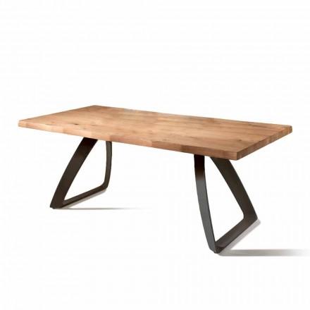 Fixe de masă furniruite stejar și bază de metal Logan
