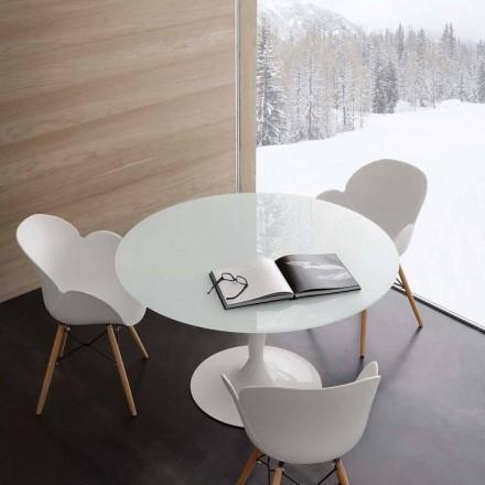 Rotundă fixă de masă extrawhite temperat sticlă și oțel Aurora
