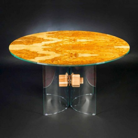 masa de lemn de măslin și rotund din sticlă Portofino