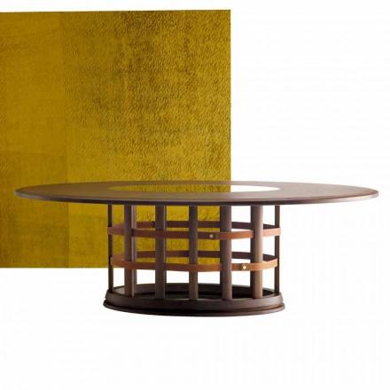 Grilli Harris masă modernă din lemn masiv eliptic din Italia