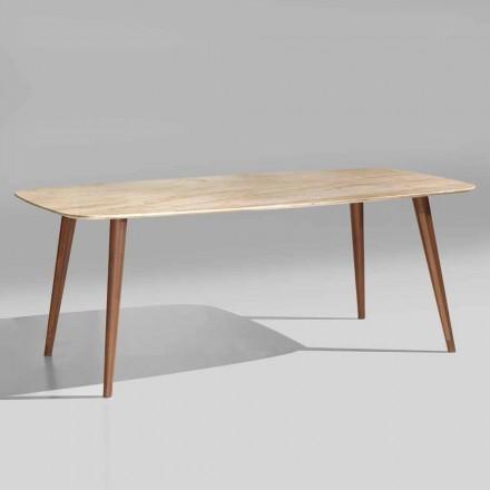Masă modernă de înaltă calitate din lemn de marmură și nuc fabricat în Italia - Hercules