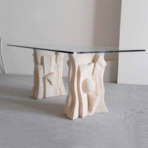 Masă de piatră cu design modern din sticlă de cristal Priamo