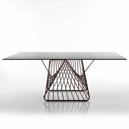 Design modern de masă din sticlă călită fabricat în Italia, Mitia