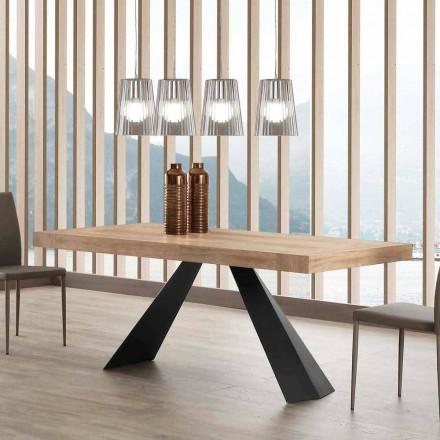 Masă extensibilă modernă Până la 260/280 cm în lemn și metal - Teramo