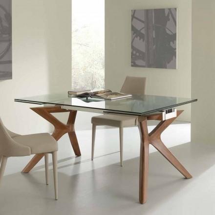 de masă modernă din oțel inoxidabil Extensibil și sticlă călită Kentucky