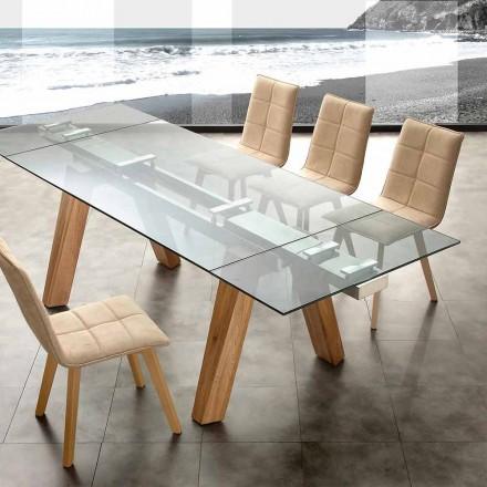 masă moderne din sticlă și lemn natural Florida