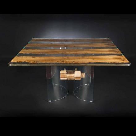 Modernă în sticlă venețiană și masa de lemn Briccola