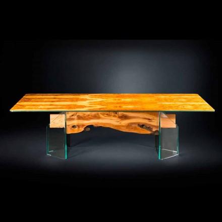 tabel modern din lemn de măslin, sticlă dreptunghiulară Portofino