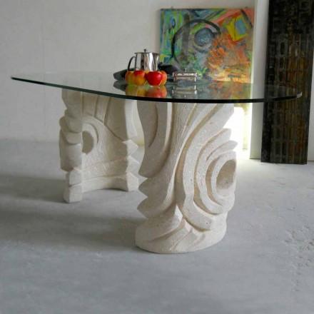 masă de piatră ovală cu un design modern Furii cristal