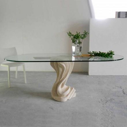 masă de piatră ovală, cu un design superior de sticlă Agave moderne