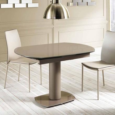sticlă de masă de extensie și piele, L120 / 180xP90cm, Lelia