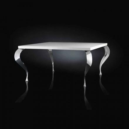 Design de masă fixă pătrată MDF și Luigi oțel cromat