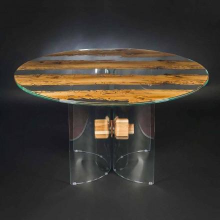 tabel de design rotund din sticlă venețiană și delfin din lemn