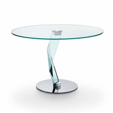 Masă rotundă de design modern din sticlă extra-transparentă realizată în Italia - Akka