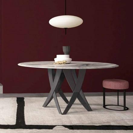 Masă rotundă în marmură Imperial Grey Diametru 140 cm, Made in Italy - Montereale