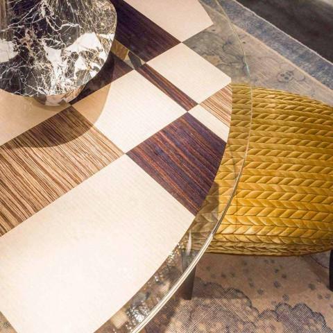 modeno Masa rotunda cu blat de sticla si lemn incrustatii Ozzy