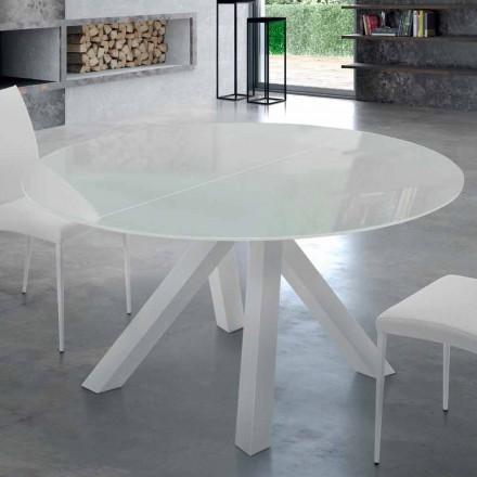 Masă rotundă extensibilă din sticlă temperată și oțel fabricată în Italia - Settimmio