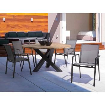 Masă rotundă modernă în aer liber cu Homemotion - blat din lemn de tec Ruben