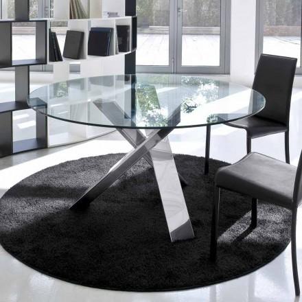 Masă rotundă de design d.120 top de sticlă realizată în Italia Cristal