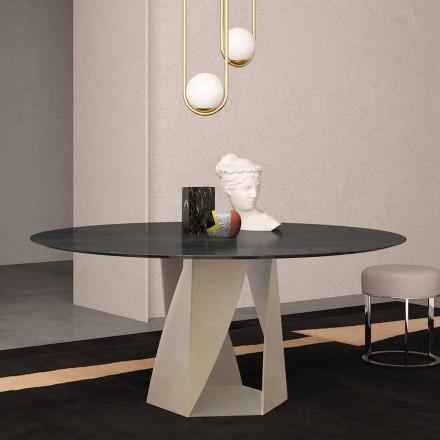 Masă rotundă în marmură neagră Ocean Diametru 130 cm, Made in Italy - Montedoro