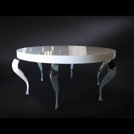 Masă rotundă stil contemporan MDF și oțel Luigi