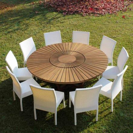 Masa rotunda din lemn de tec și solide Tabelul Real