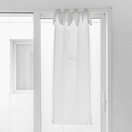 Perdă cu țesătură de in și organza albă de design elegant - Tapioca