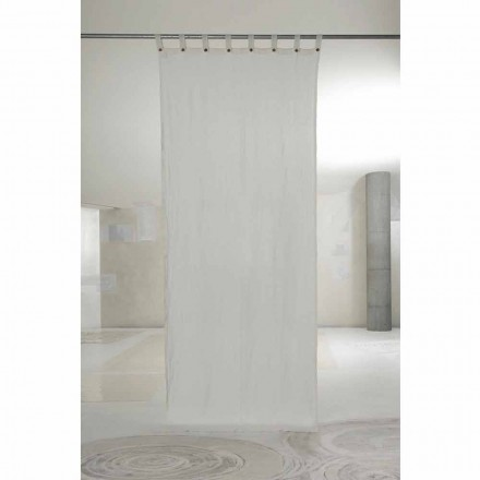 Perdă de in alb deschis, cu butoane de design de lux - Geogeo