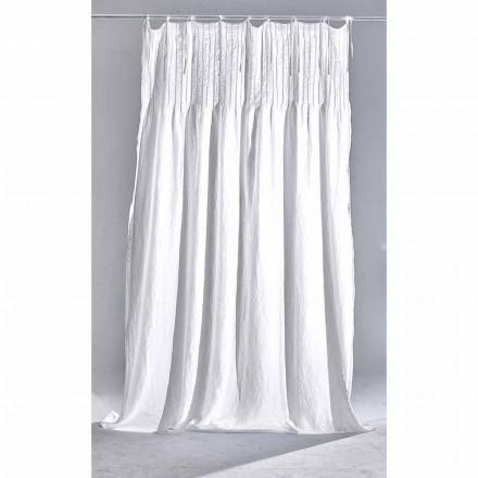 Perdă de in alb deschis, cu nervuri, design de calitate italian - Tafta