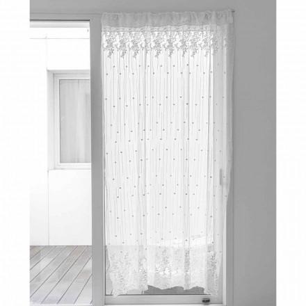 Perdă din tul alb cu buline și broderii cu flori, design - Eucariota