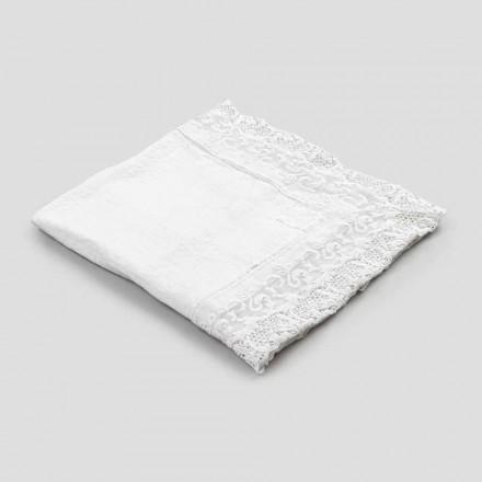 Feță de masă pătrată din in cu design de lux din dantelă albă Made in Italy - Olivia