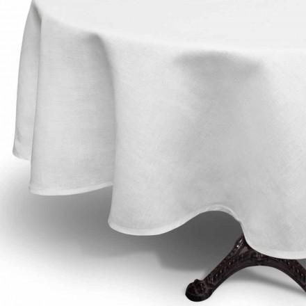 Față de masă rotundă din in cremă albă creată manual în Italia - Blessy