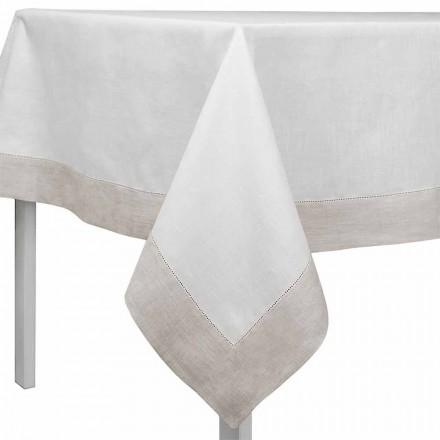 Față de masă din in, albă și naturală, dreptunghiulară sau pătrată, fabricată în Italia - Chiana
