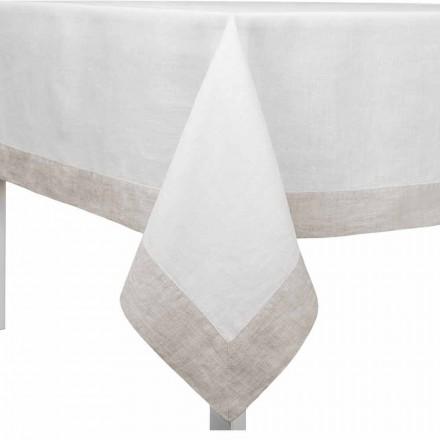 Față de masă din lenjerie albă și naturală, dreptunghiulară sau pătrată realizată în Italia - mac
