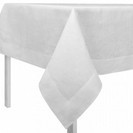 Față de masă din in alb, crem dreptunghiular sau pătrat, făcută în Italia - mac