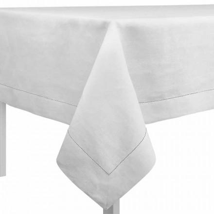 Față de masă dreptunghiulară sau pătrată în lenjerie cremă albă fabricată în Italia - Chiana