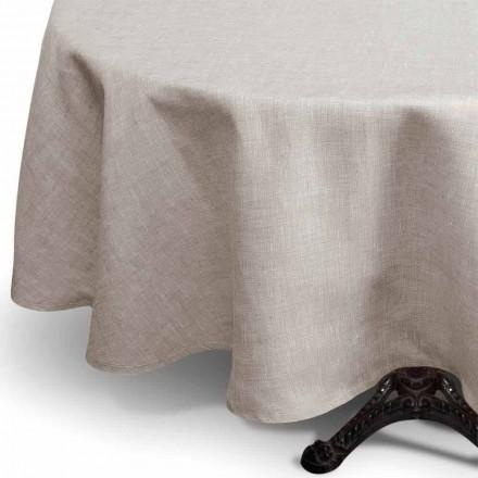 Față de masă rotundă din lenjerie pură, rotundă, fabricată în Italia - Blessy