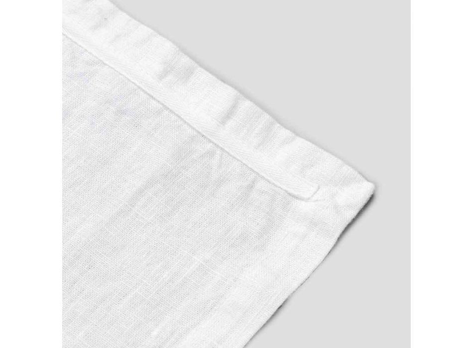 Husă de masă în in alb pur cu cadru sau dantelă Made in Italy - Davincino